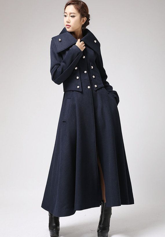 Military coat, long coat, wool coat, navy coat, warm coat, full ...