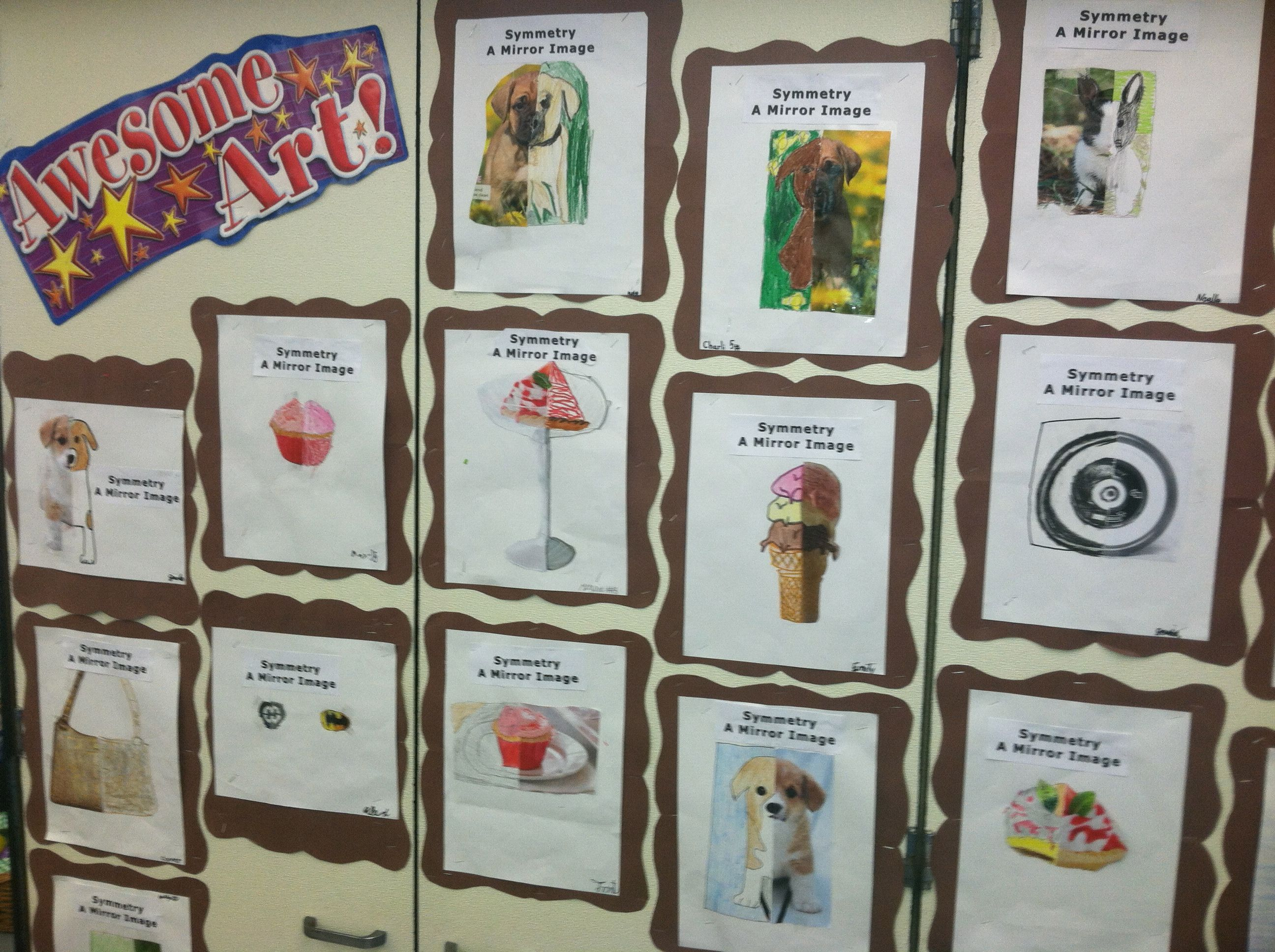 Drawing Lines Of Symmetry Games : Symmetry: 3rd grade magazine pictures cut in half students drew the