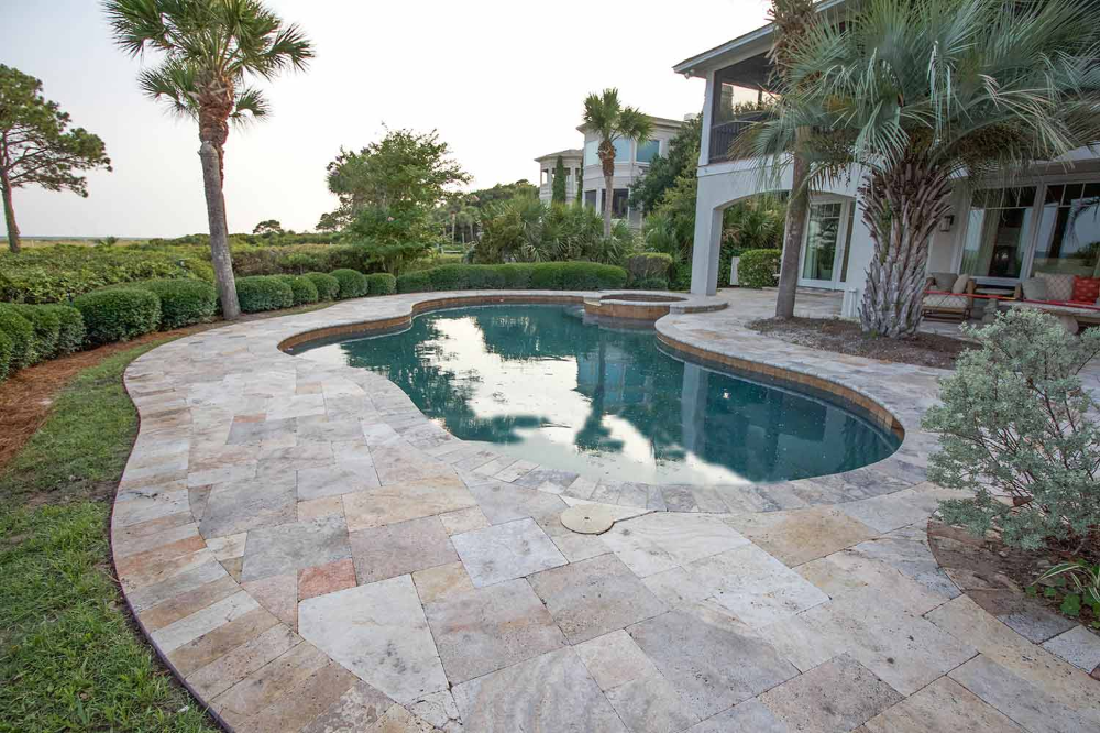 American Paving Design Paver Design Installation Company Bluffton Hilton Head Beaufort Ch Paving Design Travertine Pool Decking Swimming Pools Backyard