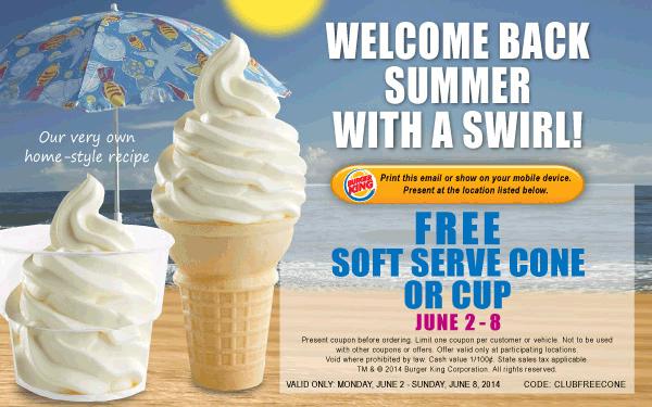 Pinned June 2nd Free ice cream cone at BurgerKing