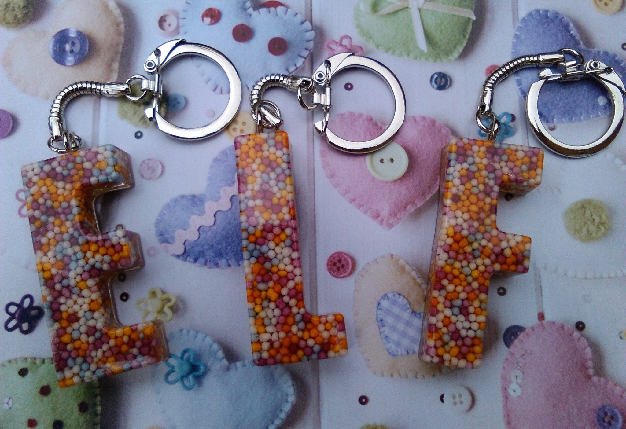 Just made a few custom order keyrings for a fellow crafters children, hope they like them