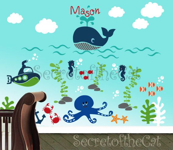 Nursery Wall Decal   Sea World Decal   Custom Name   Underwater Decal    Children Vinyl