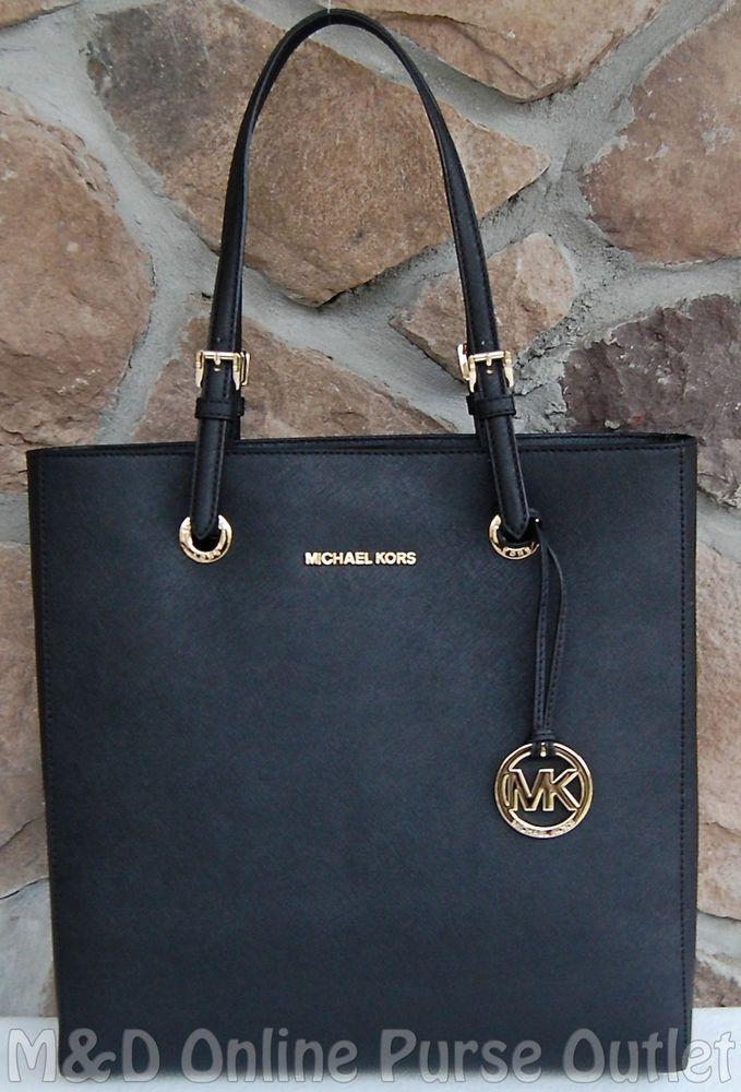 NWT Michael Kors Saffiano Leather Jet Set Travel Large NS Tote Bag ~ Black #MichaelKors #Purse