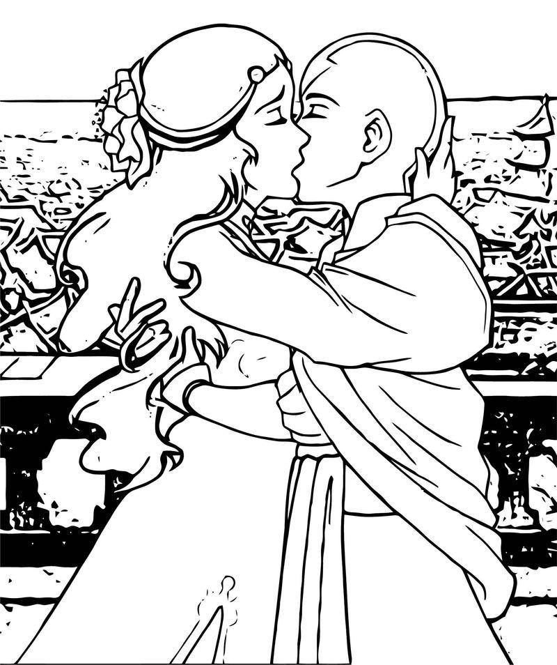 Aang Katara Kataang Avatar Aang Coloring Page 2141452