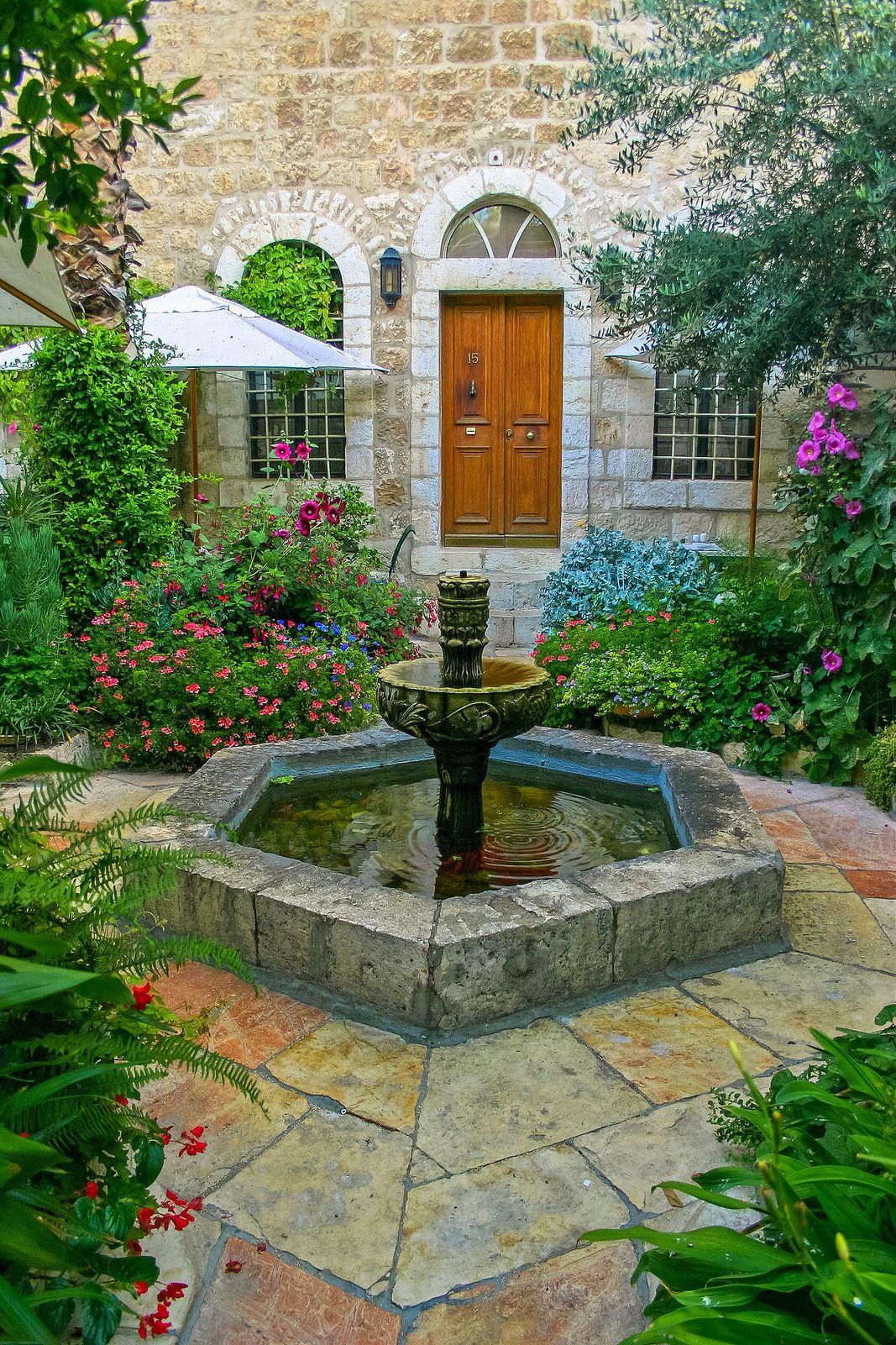 Jerusalem Courtyard Beautiful gardens, Fountains & ponds
