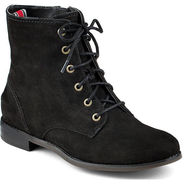 Sperry Top-Sider Adeline Boot ($52) ❤ liked on Polyvore featuring shoes, boots, botas, sapatos, black leather, black laced shoes, black shoes, polishing leather boots, black low heel boots and lace up boots