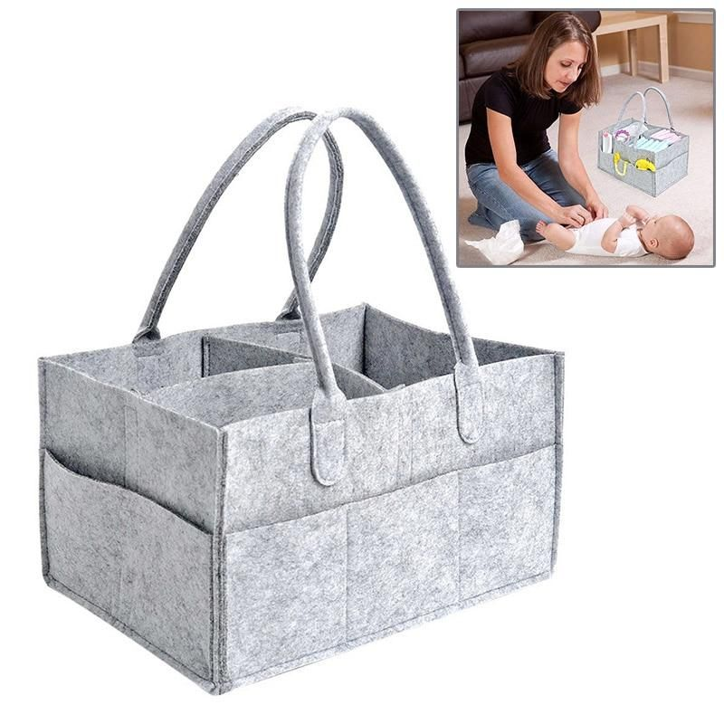 Baby Diaper Organizer Caddy Felt Changing Nappy Kids Storage Carrier Bag Mummy