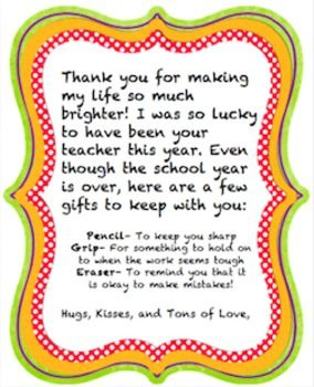 A simple & sweet goodbye-gift letter to give to students ...