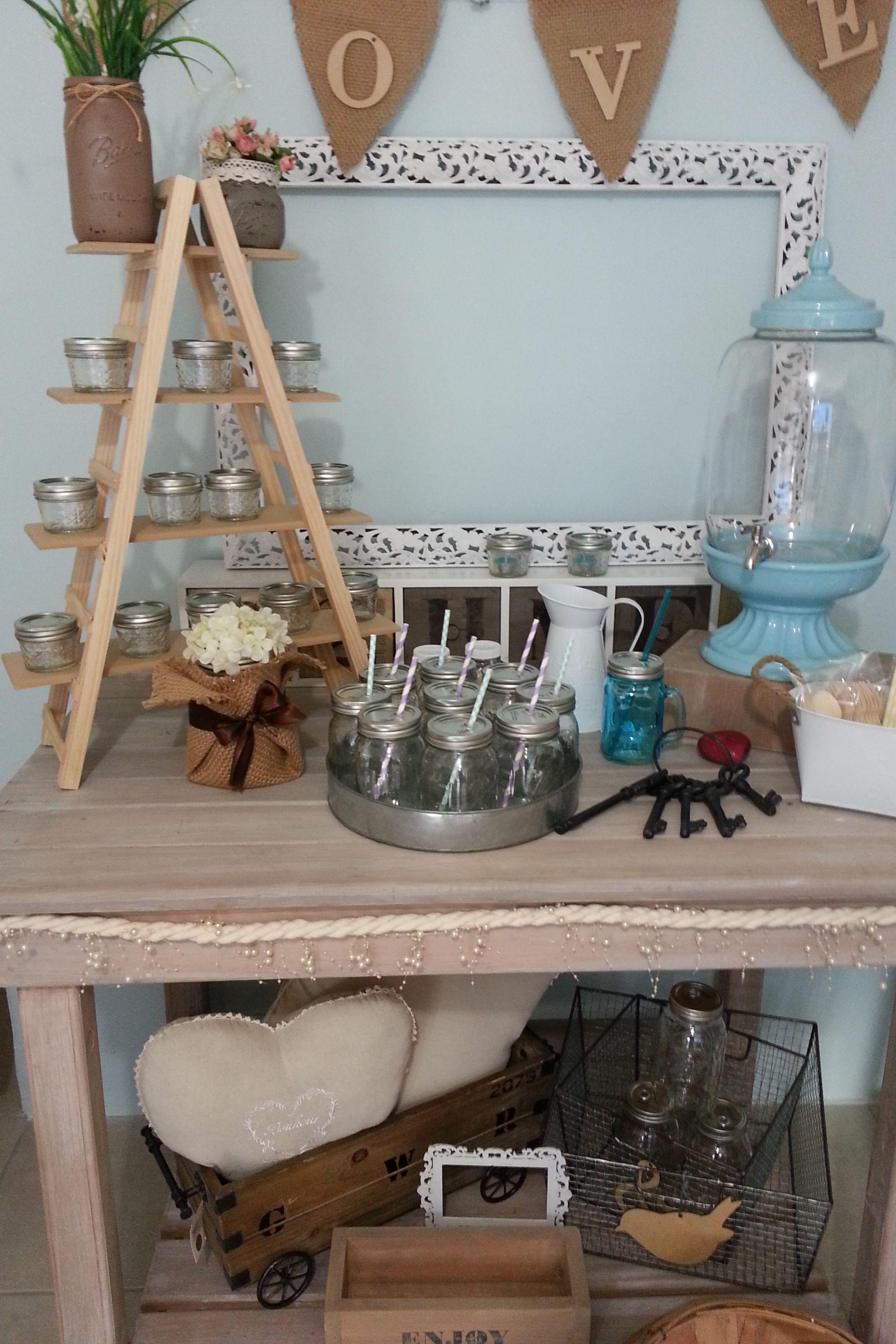 Vintage deco especial para tus eventos venta de mesas for Escalera madera decoracion