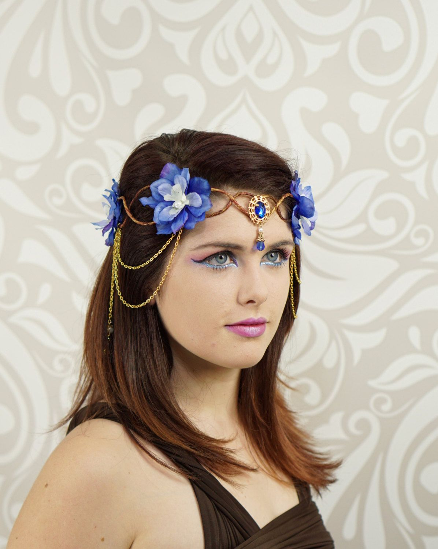 Elven crown elven headdress blue gold flower crown fantasy elven crown elven headdress blue gold flower crown fantasy costume headpiece izmirmasajfo Gallery