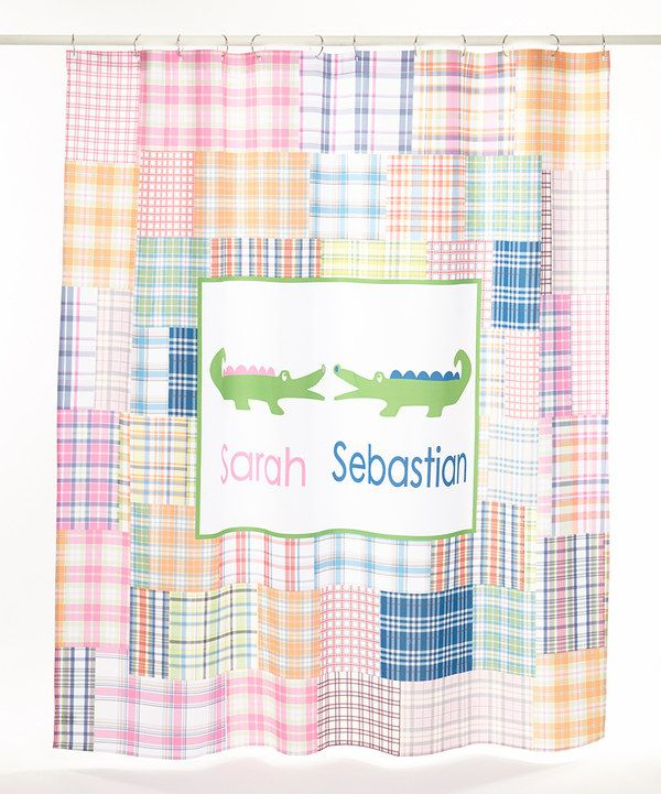 Look At This Pink Plaid Alligator Personalized Shower Curtain On