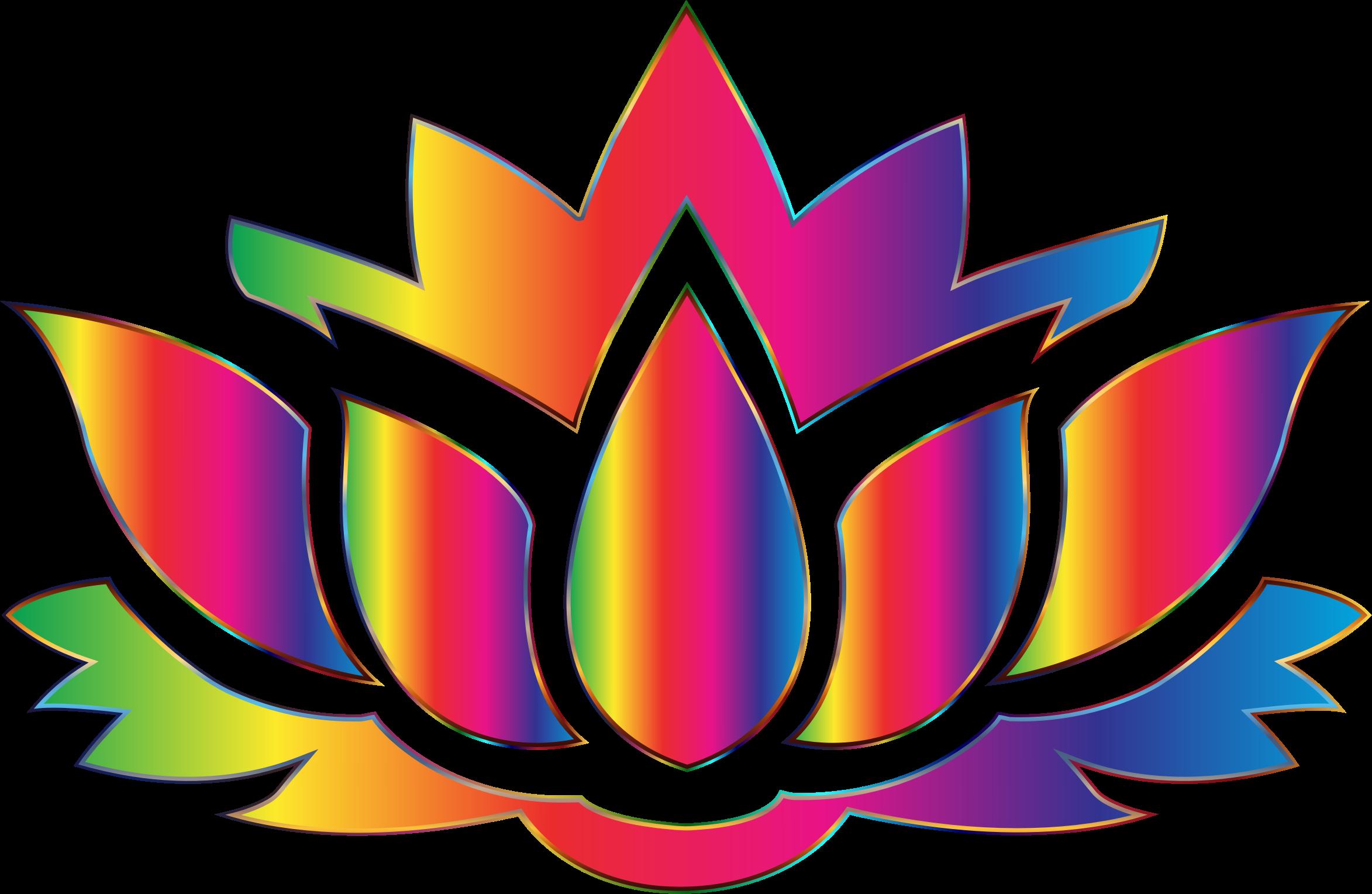 Rainbow Lotus Flower Silhouette No Background Flower