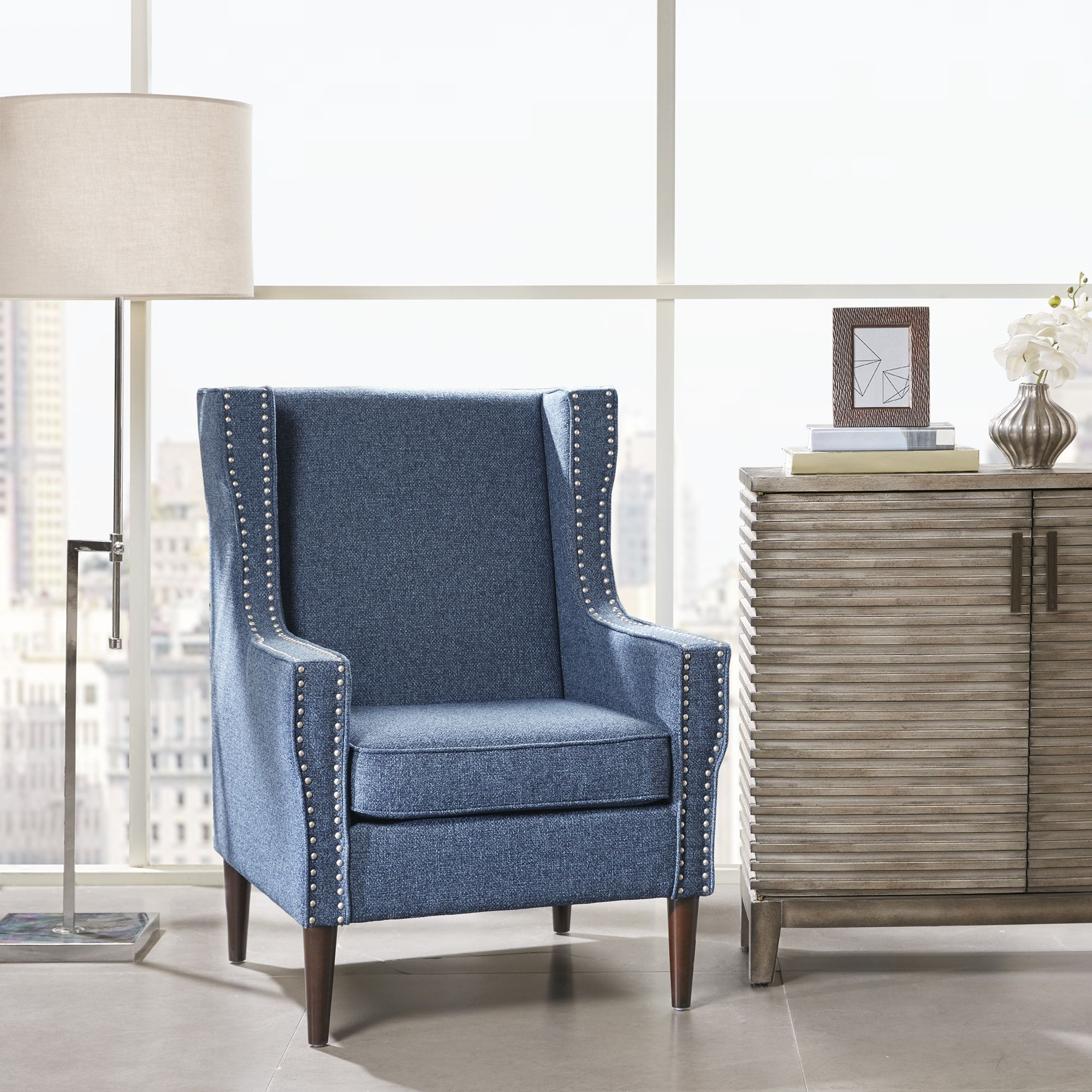 Madison Park Topeka Blue Upholstered Accent Chair (2925W X 3175D