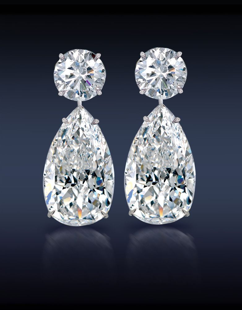 Teardrop Diamond Earrings Two Brilliant Cut Pear Shape Diamonds 12 31 Carats Topped With 3 16 Carat Round Mounted In 18k White