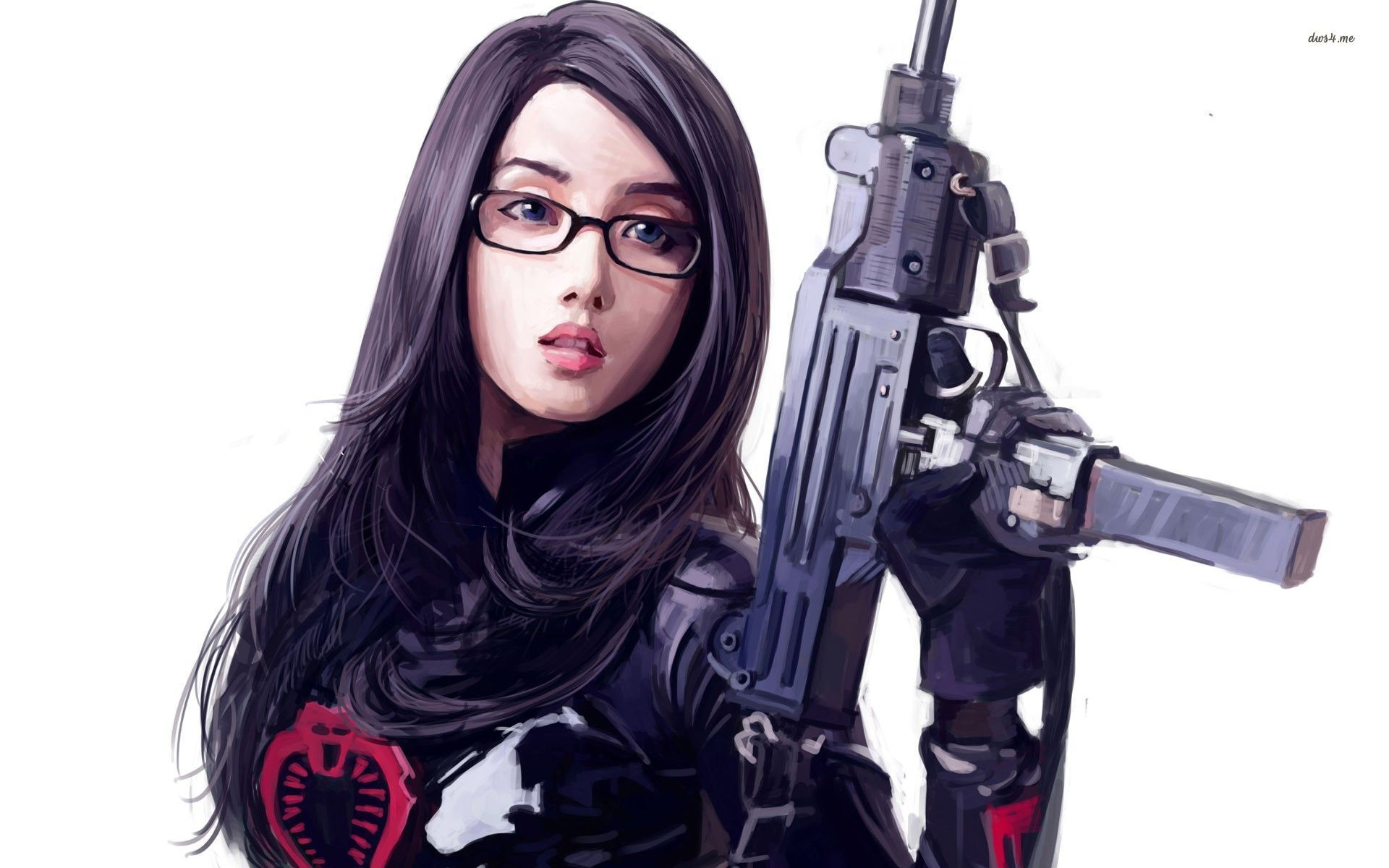 Nerdy girl with a rifle wallpaper Ideas for the House