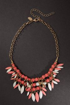 Coral And White Bead Necklace