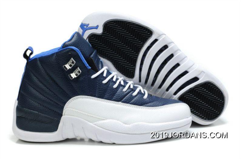 MENS AIR JORDAN 12 BLUE WHITE SHOES