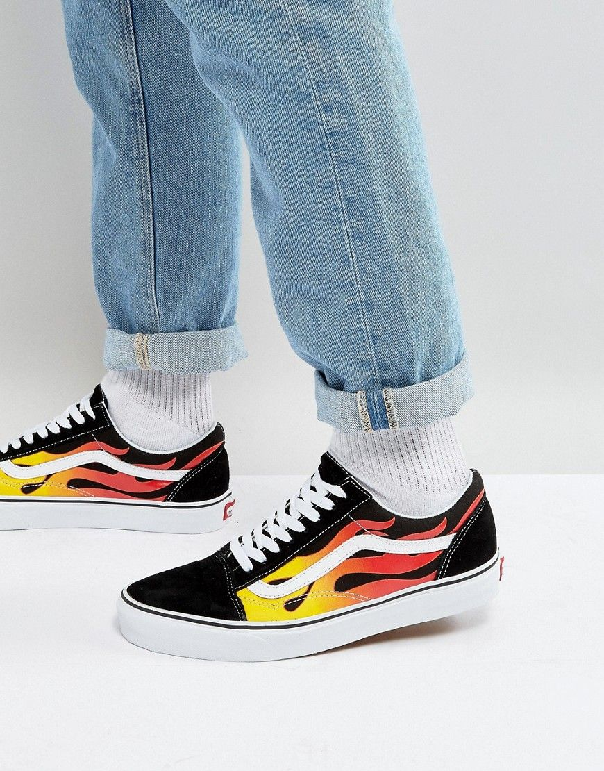 6a5f6d064c Get this Vans s sneakers now! Click for more details. Worldwide shipping.  Vans Flame Old Skool Trainers In Black VA38G1PHN - Black  Trainers by Vans