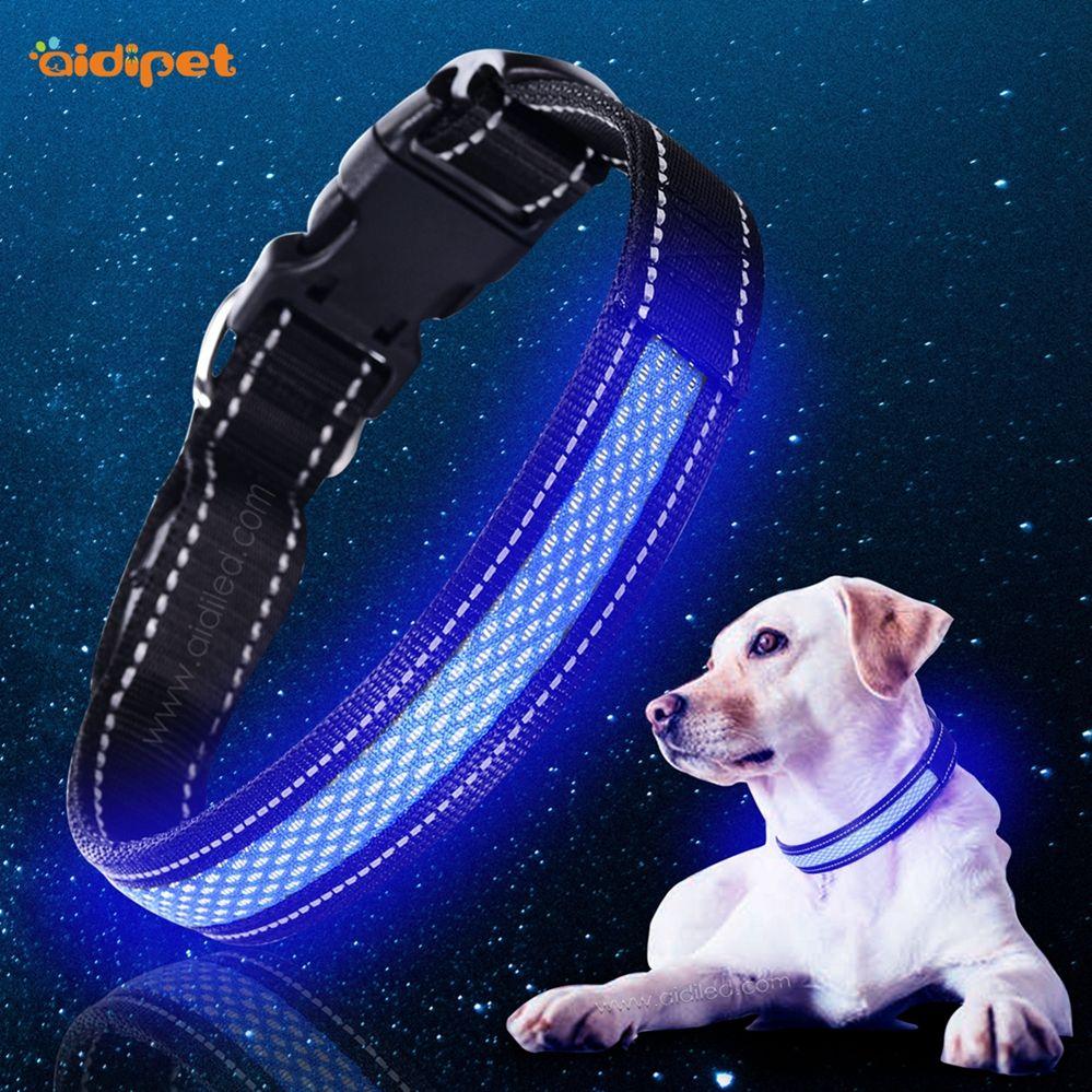 Pin On Nylon Led Shining Dog Collar Light For Safety