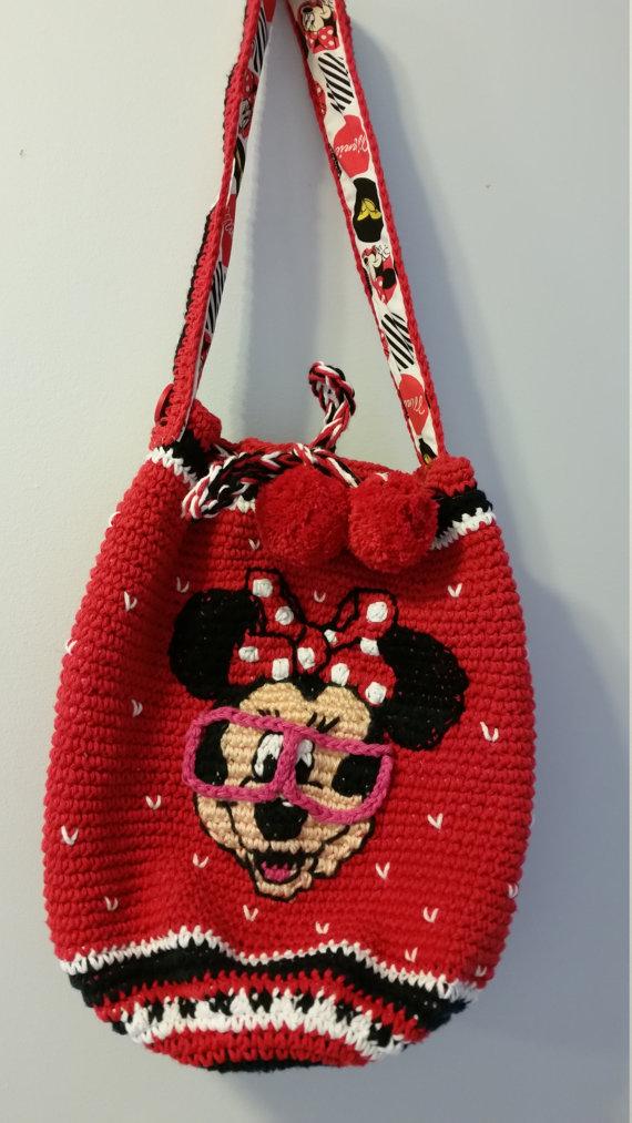 Minnie Mouse crocheted Mochila bogo bag | Pinterest | Monederos ...