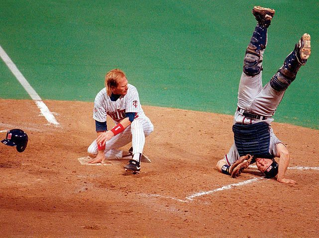 Atlanta Braves Catcher Greg Olson Goes Head Over Heels After Tagging Minnesota Left Fielder Dan Gladden Out A Sports Photos Funny Sports Pictures Sports Images