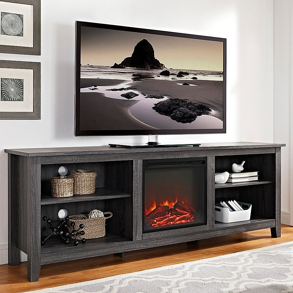Real Flame Hawthorne 75 In Media Console Electric Fireplace In Burnished Oak 2222e Bo