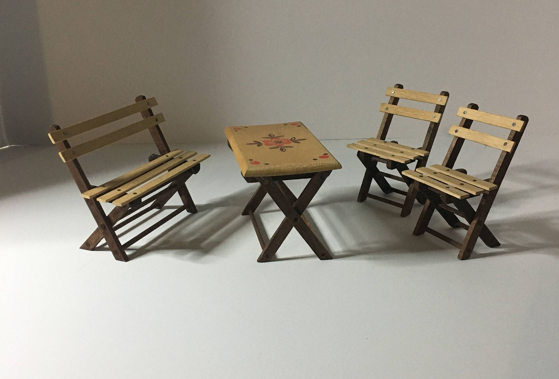 Miniature wood patio picnic table summer folding bench chairs with ...