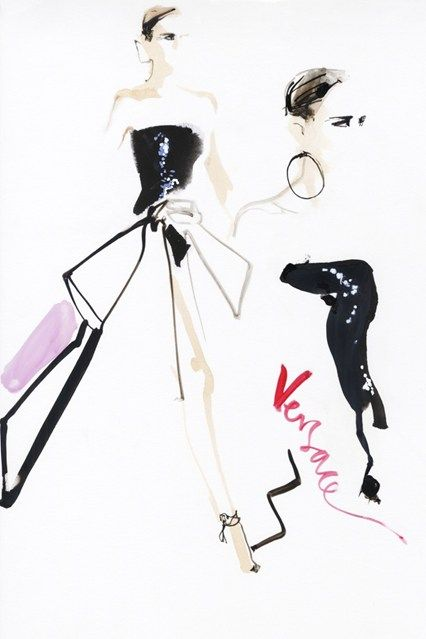 #David Downton's Illustrated Couture #Versace