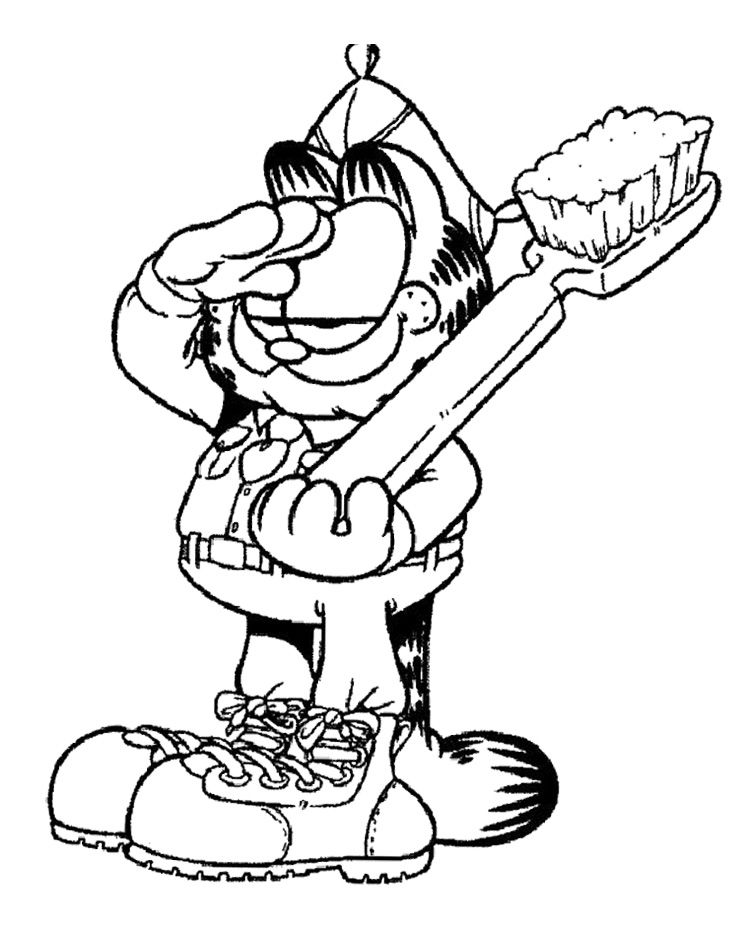 Garfield Holding Large Toothbrush Coloring Page | Garfield Coloring ...