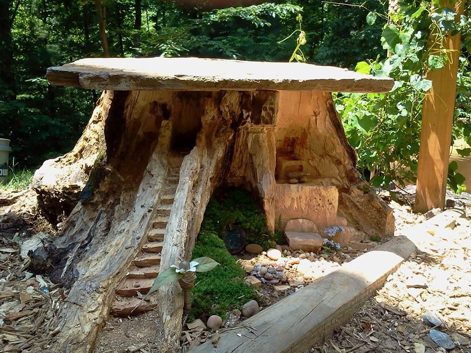 Making A Fairy Home From An Old Stump Outdoor Furniture