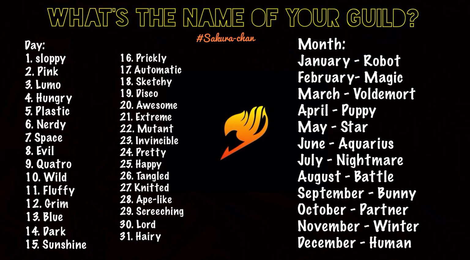What is the name of your Fairy Tail Guild? ) mine is