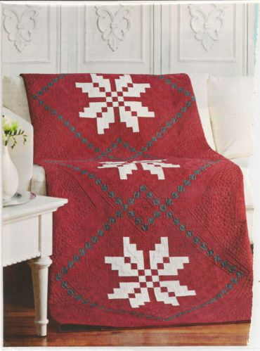 Nordic Snowflake Quilt for Christmas or Year Round Red and White ... : red snowflake quilt - Adamdwight.com