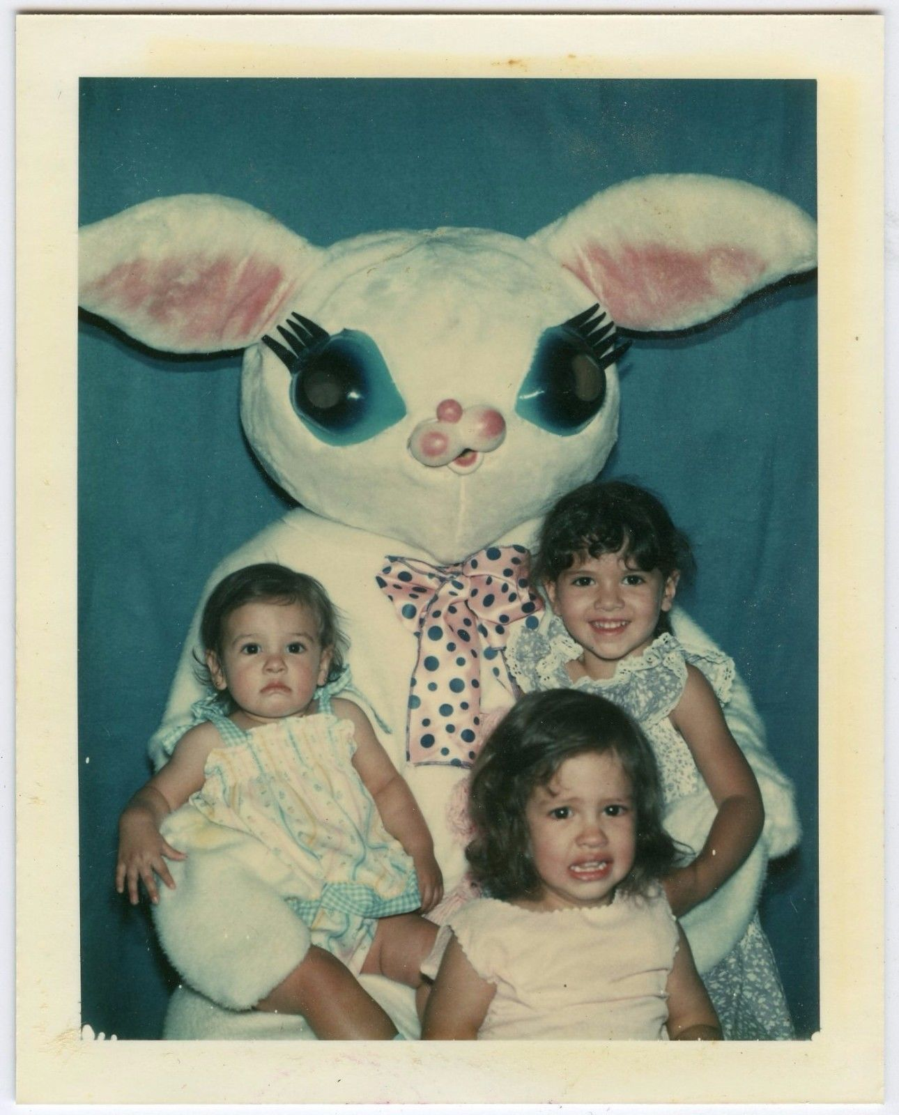 Crying Laughing Girls Visiting Creepy Easter Bunny 2 Vtg 70s Polaroid Photos DK