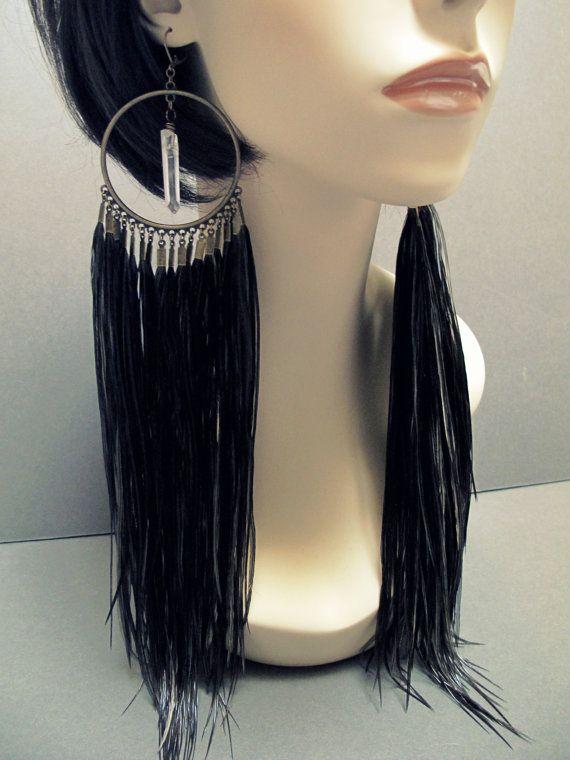 Black Feather Earrings Feather Chandelier Earrings Extra Long