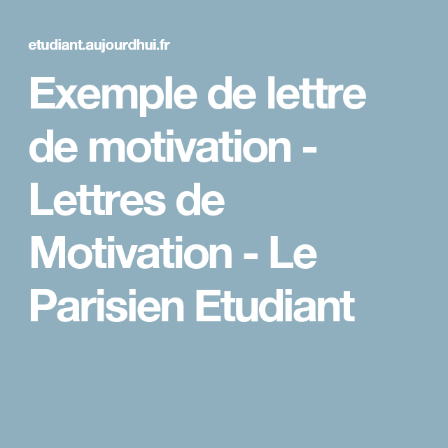 exemple de lettre de motivation - lettres de motivation