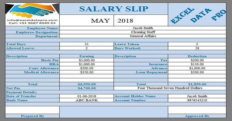 9 Ready-To-Use Salary Slip Excel Templates Template