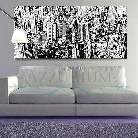 Quadro grande com gravura de cidade em preto e branco, ideal para ambientes cleans!  www.azzurium.com.br