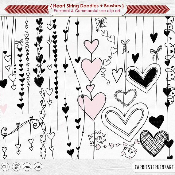 Heart Clipart Png Valentine Digital Stamps Doodle Heart Etsy Coeur Doodle Gribouillages Artistiques Bordures Doodle