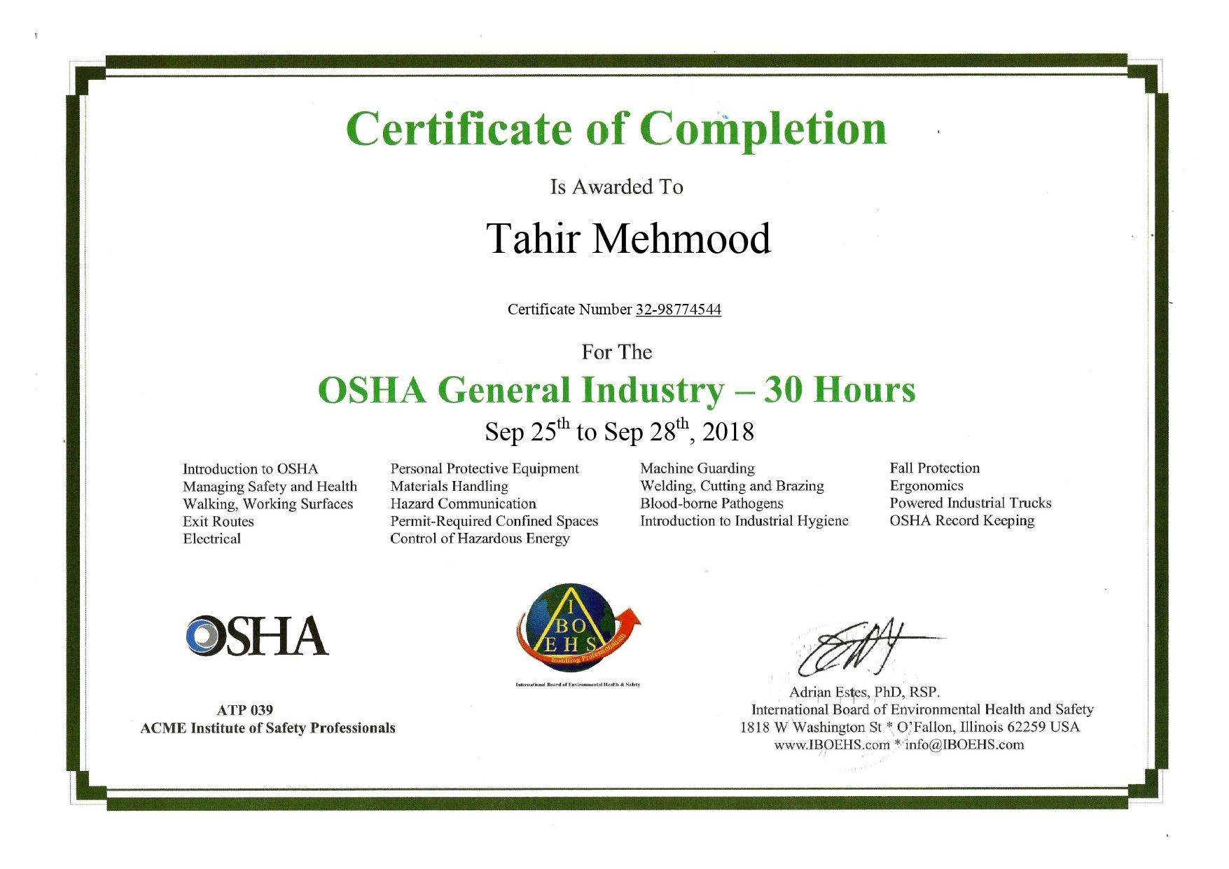 The OSHA 30hour General Industry Outreach Training course