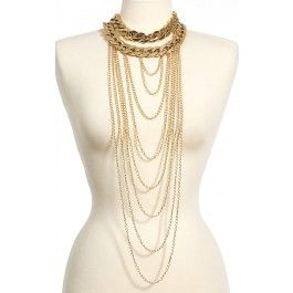 Chain Draping Layered Necklace