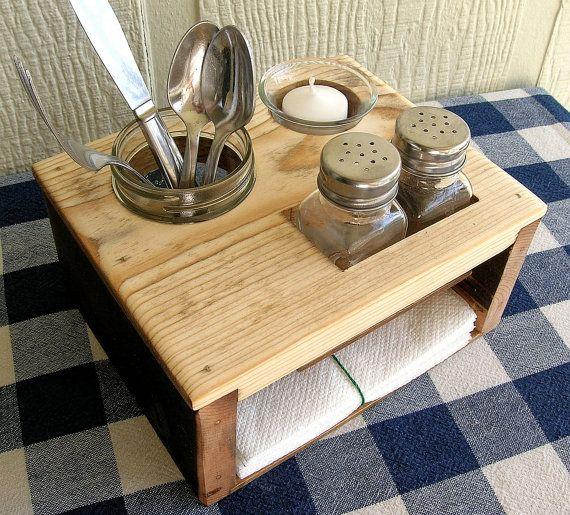 Kitchen Table Organizer Holds Salt And Pepper Shakers Jar Napkins Votive Candle Holder Pine Construction Reclaimed Charred Wood Side Panels