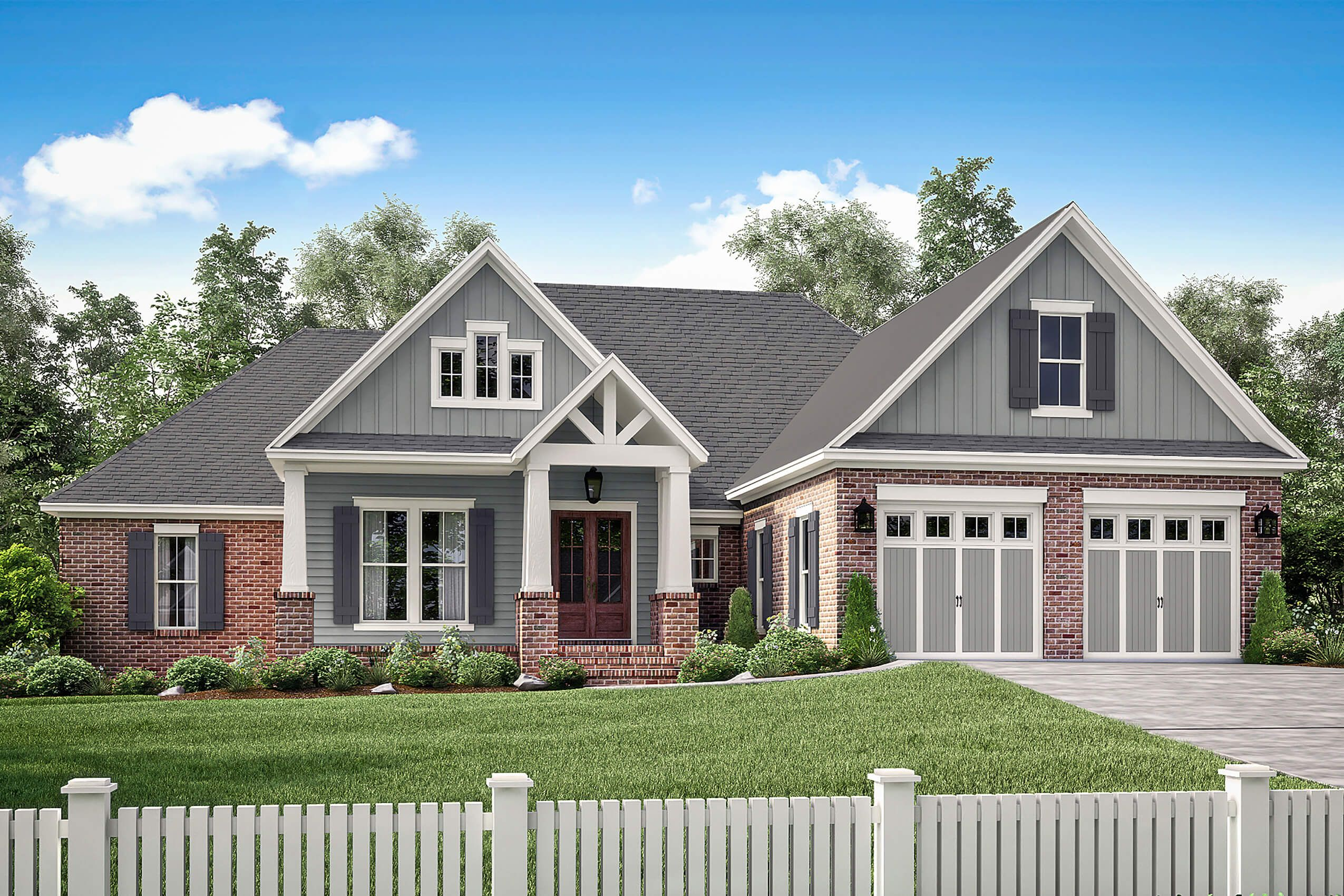 Small house plan home plan 142 - Front Elevation Of Craftsman Home Theplancollection House Plan 142 1173