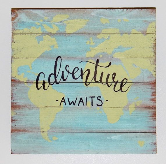 World map pallet art with quote adventure awaits pallet art world map pallet art with quote adventure awaits gumiabroncs Choice Image