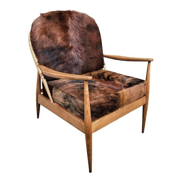 Admirable Danish Mid Century Modern Cowhide Chair Accent Chairs Evergreenethics Interior Chair Design Evergreenethicsorg