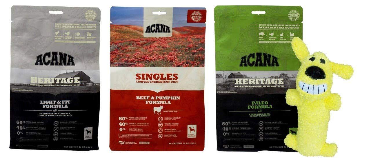 ACANA Dry Dog Food Kibble 3 Flavor Sampler with Squeaker