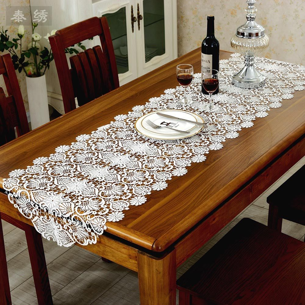 Ustide European Royal Floral Tablecloth Hollow Embroidered Lace Table Runner Elegant Covers For Dining Cabinet Off White