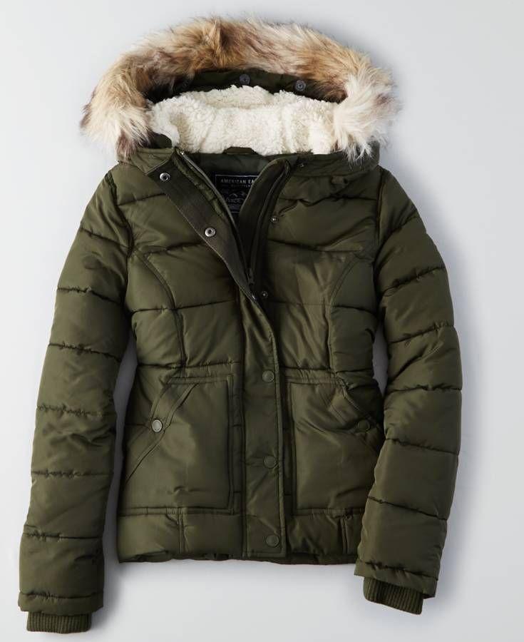 AEO Weekend Puffer Jacket (Coat), Women's, Olive Green
