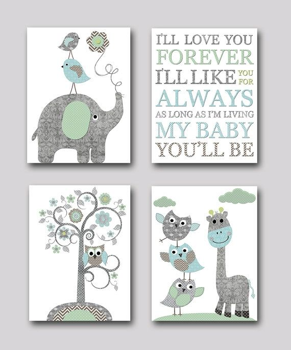 Baby Room Decor Nursery Decor Nursery Boy Kids Art By: Gray And Blue Elephant Nursery Giraffe Nursery Print Baby