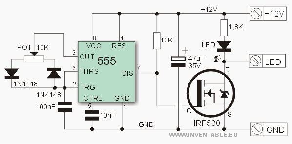 circuito electr nico del regulador con 555 electronic in 2018 rh pinterest com Light-Emitting Diode Bulbs LED Display