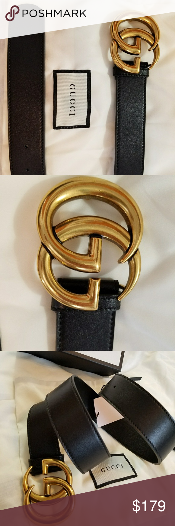 bd935824a6e 🤗Authentic Gucci Belt Black Leather Gold Brass 🤗Authentic Gucci Belt Black  Leather with Gold Brass GG Buckle. Nice looking belt.